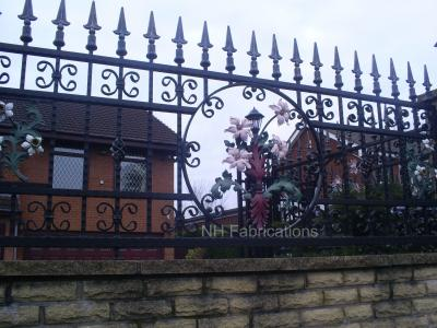 Ref: BP001 Wrought Iron Bespoke Railings with Flower Design